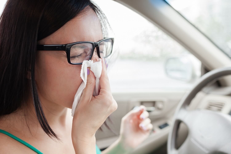 eine Frau bekommt im Auto einen Niesanfall
