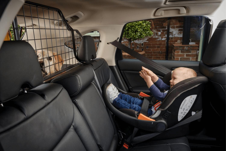 Ein Auto für Kind und Hund muss im Familien-Alltag einiges aushalten. So muss das Kind im Kindersitz gesichert werden, und der Hund findet im Kofferraum hinter einem stabilen Hundegitter Platz. Der Bodenbelag wird durch Gummifußmatten und eine Passform-Kofferraumwanne geschützt. © Travall