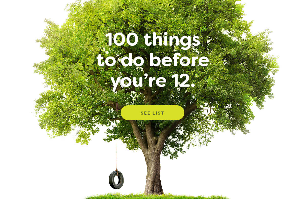 Image of a tree with a tire swing. The image says, 100 things to do before your 12.
