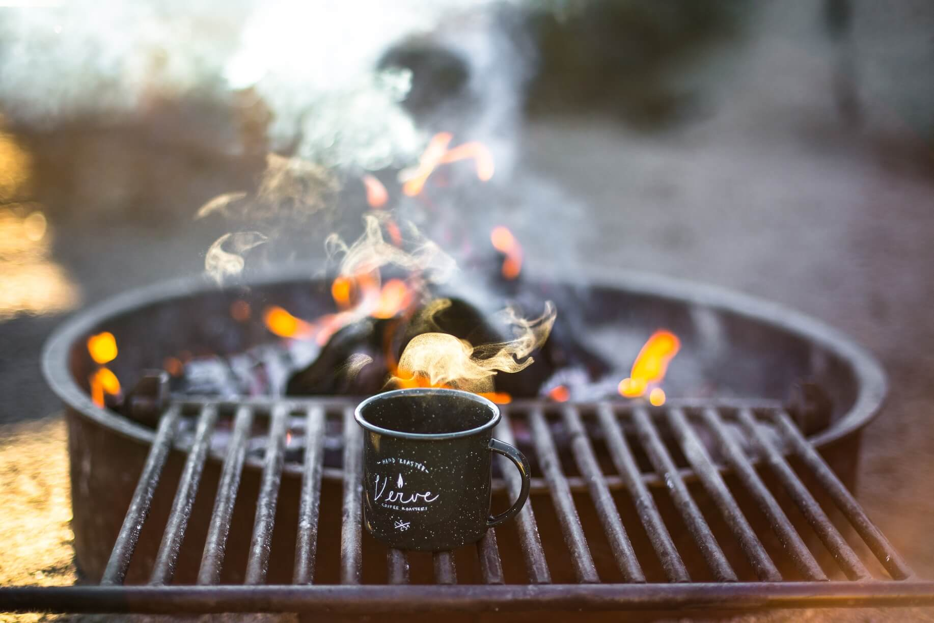 A campfire and a cup of coffee. What a way to start your day.