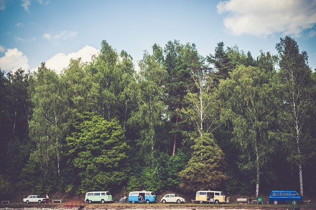 A shot of some campers vehicles under the trees.