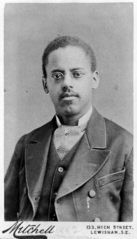 Black and white photograph of African American inventor Lewis Latimer.