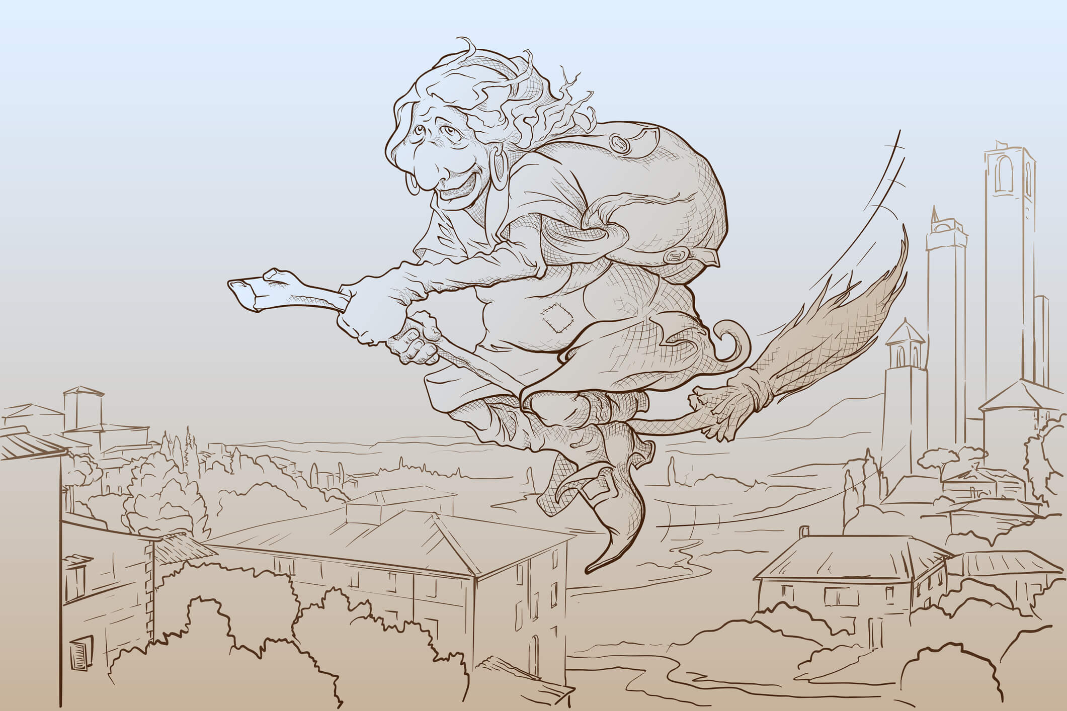 La Befana - the Italian colleague of Santa. An old lady flying on the broom on the Epiphany eve over San Gimignano and delivering gifts to children. EPS8 vector illustration in a simple sketch style.