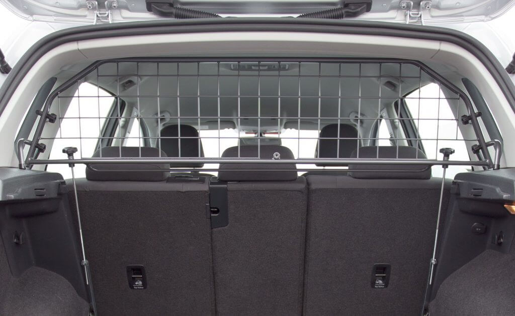 Rear view of the Travall Guard fitted inside a Buick Envision.