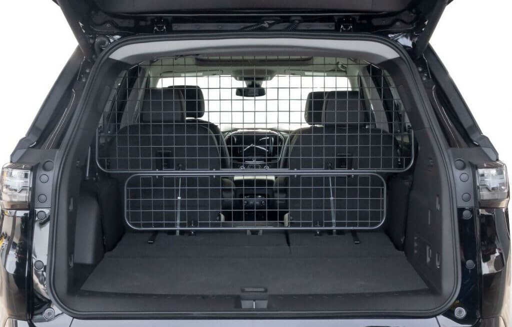 Rear view of the Travall Guard installed in a Chevrolet Traverse.